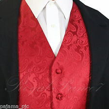 Red / Red XS to 6XL Paisley Tuxedo Suit Dress Vest Waistcoat Wedding Party Prom