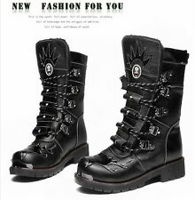 100% Leather-2015 TOP ROCK PUNK COOL Fashion -Men WINTER motorcycle ARMY boot