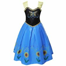 Princess Anna Queen Girls Frozen Dresses Cosplay Costume Xmas Party Fancy Dress