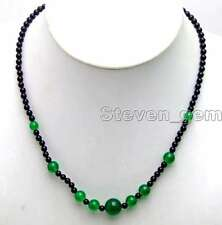 "SALE 4mm black round Natural agate and 6-12mm Green jade 18"" Necklace-nec5868"