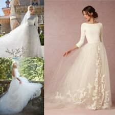 Vintage Appliques Long Sleeve Wedding Dresses White/Ivory Backless Bridal Gowns