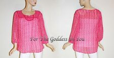 T343 ST. JOHNS BAY PRETTY IN PINK SHEER PEASANT TOP WOMENS PLUS SIZE 1X 2X 3X