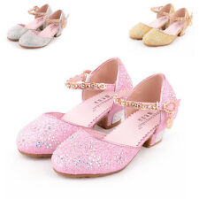 New Childrens Girls Crystal Low Heel Princess Shoes Sandals Girls Seasons Shoes