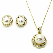 Pearl Crystal Earrings and Necklace Set Made with SWAROVSKI® Crystals