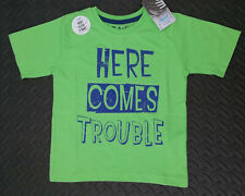 Primark Boys T-Shirt 'Here Comes Trouble' Green Sizes 1-8 years