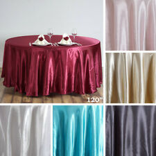 "10 pcs 120"" ROUND Satin TABLECLOTHS Wedding Party Tabletop Linens Supplies SALE"