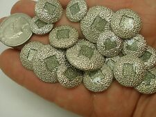 "New Lot of 8 Fancy Silver Metal Buttons Glittery Center 7/8"" 11/16 & 5/8 (SH)"