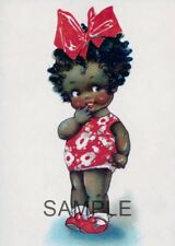 Fabric Art Quilt Block  African American Girl *Sweet* 14-0211 FREE SHIPPING