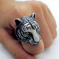 Men's Tiger Silver Tone 316L Stainless Steel Ring US size 8, 9 , 10, 11, 12, 13