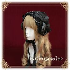 Japanese Harajuku Punk Gothic Lolita Devil Horn Lace Bow Hair Band Headband #m02