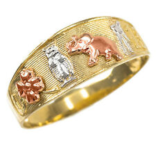 Multi-tone Gold Lucky Owl, Elephant, Horseshoe, Thirteen, and Flower Unisex Ring