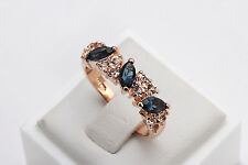 18K Rose Gold Plated Ring Band W/Blue White Swarovski Element Crystal (R727-35)