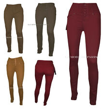 T14 Trousers for Womens Slim Fit High Waisted Skinny Coloured Jeans Chino New