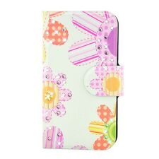 Rhinestone Colorful Flower Design PU Leather Flip Case Cover For HTC