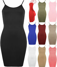 Womens Mini Low Back Bodycon Stretch Sleeveless Pencil Ladies Party Dress 4-14