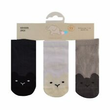 Baby boys socks white navy & grey 3 pairs 90% rich cotton from 0 to18 MONTHS