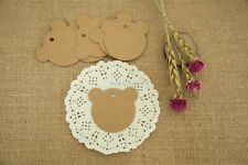 50/100pcs Brown Kraft Gift Tags Wedding Scallop Label Blank Luggage + Strings T7