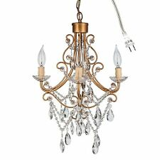 ANTIQUE CRYSTAL CHANDELIER Ceiling Fixture Small 4 Light Glass Pendant Lighting