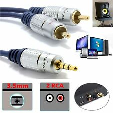 Pro Metal 3.5mm Stereo Jack to Twin 2 RCA Phono Plugs Aux Audio Cable 1m 2m 3m