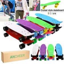 "Retro 22"" Cruiser Style Skateboard Complete Deck Mini Plastic Skate Board Deck"