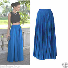 CelebStyle Turquoise Double-Layered Chiffon Full Length Pleated Maxi Skirt