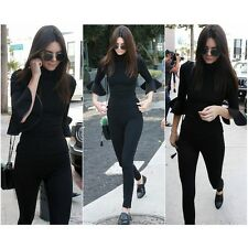 2016 New Celeb Lady Turtleneck Bell Sleeve Bodycon Stretch Top Blouse Tee Shirt