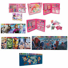 Disney Kids Large Art Set Craft Case Paint Stickers Colouring Pencil Tin Toy New