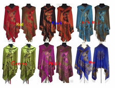 New Women's Double Side Butterfly Pashmina and Silk Shawl/Scarf