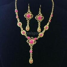 Wedding Prom Bridal Fashion Necklace Earring Flower Water Drop Jewelry Sets Gold