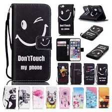 Stand Flip Leather Wallet Card Case Cover For iPhone5 6 6S Plus Touch5 6 w/Strap