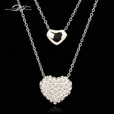Charm Love Heart Cubic Zirconia Long Chain Necklace & Pendant Fashion Jewelry