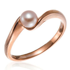 Rose Gold Plated Silver 925 Solitaire Freshwater Cultured Pink Pearl Ring (5mm)