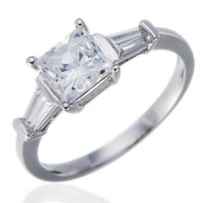 Princess Cut Simulated Diamond Solid 925 Sterling Silver Ring Engagement Bridal