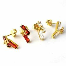Fashion jewelry Clear CZ OR Red Ruby Womens bow Stud Earrings Yellow Gold Filled