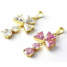 Fashion jewelry Yellow Gold Filled Clear OR Pink CZ Flower Womens Dangle Pendant