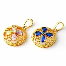 Womens Multi-color CZ/Sapphire Four Leaf Flower Yellow Gold Filled Pendant