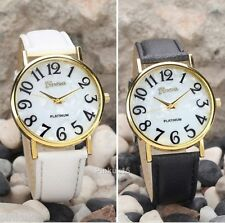 New Geneva White Mother Pearl Clear Face Ladies Womens Leather Strap Wrist Watch