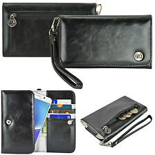 Black Luxury Wallet Leather Wristlet Strap Purse Case Cover for Smart Cell Phone