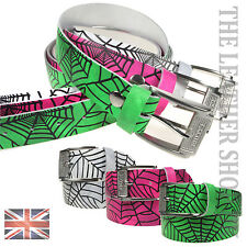 38mm Mens Womens Cheap Spiderweb Print Colourful Real Leather Belt Made In UK