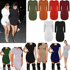 Women Ladies Long Sleeve Curved Hem Dress Stretch Party Mini Tunic Bodycon 6-16