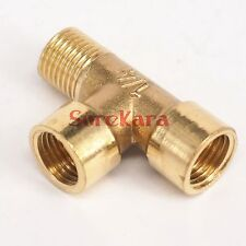"""2x Tee 3 Ways Brass fitting Connector male-male-Female 1/8"""" 1/4"""" 3/8"""" 1/2"""" BSP"""