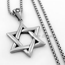 "Star of David Jewish Symbol Stainless Steel Pendant Box Chain Necklace 18""- 36"""