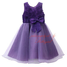 Children Baby Girl Fashion Petal Dress Princess Bow Sash Tulle Ball Gown Dresses