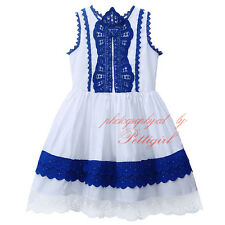 Baby Kids Vintage Girls Dress Flower Lace Cotton Princess Holiday Party Birthday