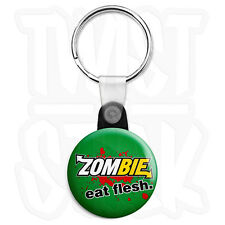 Zombie Eat Flesh 25mm Walking Dead Subway Keyring Button Badge, Zip Pull Option