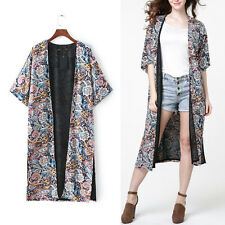 Hippie Boho Retro Paisley Print Long Kimono Cardigan Beach Cover Up Jacket Top
