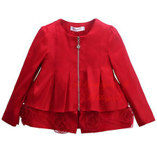 Fashion Girl Zipper Slim Red Flowers Coat Kids Princess Party Holiday Jacket 3-8