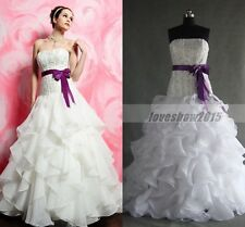 Vintage Plus Size White Beads Organza Ball Gown Wedding Dresses Custom Made 4 6+