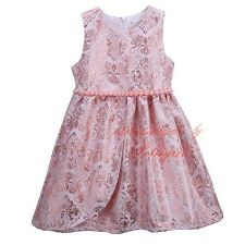 Children Kids Girls Pearls Tulle Flower Slim Dress Sleeveless Summer Dresses 3-8