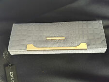 RIVER ISLAND GREY MOCK CROCK CLUTCH PURSE / BAG BRAND NEW WITH TAGS